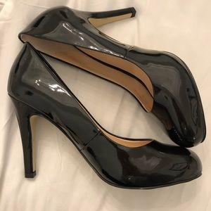Franco Sarto black Patton leather 4 inch heels